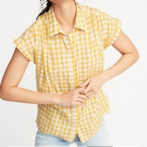 Old Navy Yellow Gingham Plaid Button Down Top